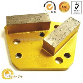 Trapezoid bolt-on double bar diamond grinding shoe for concrete floor