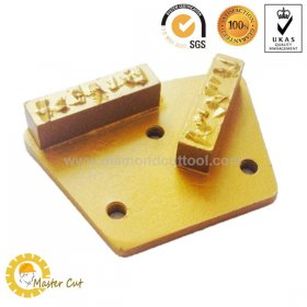 Trapezoid split PCD double bar diamond grinding shoe plate for sale