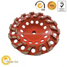 7 inch S shape turbo diamond grinding cup wheel for concrete floor